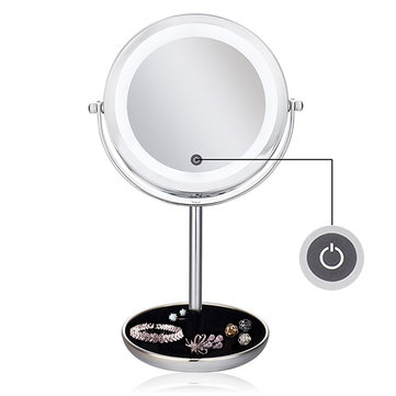 LED Lights Makeup Mirror Desktop Double Side Mirror Magnification New Style Bathroom Cosmetic Mirror