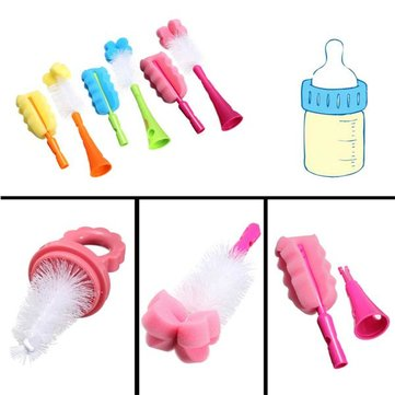 5in1 Baby Wash Nipple Straw Rotating Brush Milk Feeding Bottle Nozzle Cup Sponge Drinking Straw Cleaner Set