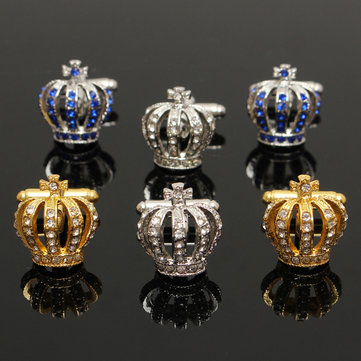 Crown Shape Rhinestone Wedding Business Party Shirt Suit Silver Metal Cufflinks