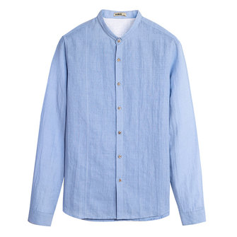 Vintage Mens Solid Color Turn-down Collar Cotton Linen Casual Loose Buttons Shirts