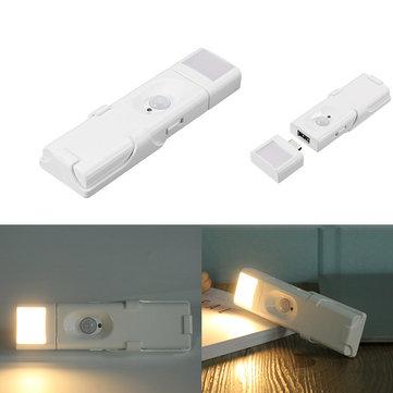 Portable USB Battery Powered PIR Motion Sensor LED Night Light Warm White Lamp for Cabinet Closet