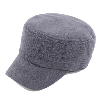 Mens Solid Polar Fleece Warm Flat Top Hat