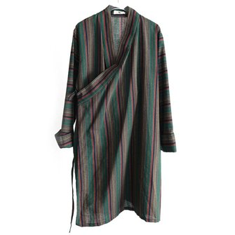 Mens Fashion Linen Striped Casual Coats