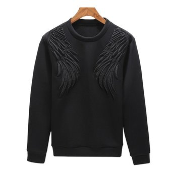 Mens Crew Neck 3D Wings Pattern Autumn Sweatshirt Casual Long Sleeve Pullover T-shirt