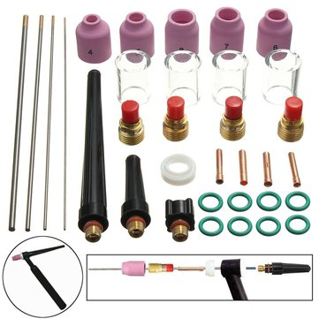 33Pcs TIG Welding Kit Gas Lens + 4Pcs WT For TIG Welding Torch WP-9/WP-20/WP-25
