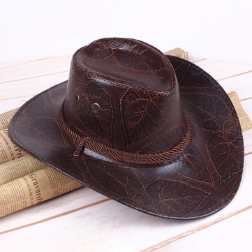 Men Women Western Artificial Leather Cowboy Knight Hat