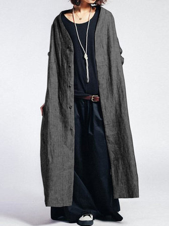Women Button Front Open Solid Maxi Cardigan Coat