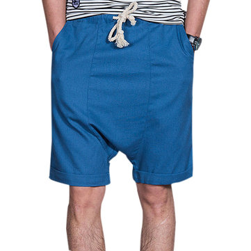 Cotton Linen Mens Cross Pants Loose Knee-Length Shorts