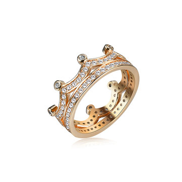 Women's Elegant Fine Copper Ring Gold Crown Zircon Ring Jewelry Gift for Her