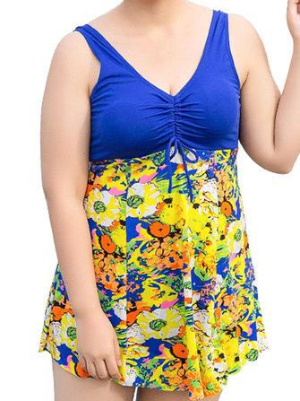 Conservative Deep V Sans manches Flower Printing U Shape Back Swimdresses sans fil