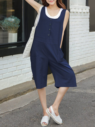 S-5XL Casual Button Sleeveless Wide Legged Short Jumpsuit