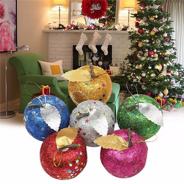 6PCS Christmas Party Home Tree Pendant Apple Baubles Toys For Kids Children Gift Ornament