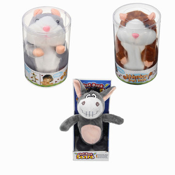 Mimicry Talking Animal Cute Hamster Donkey Stuffed Plush Sound Record Toy Set of Three