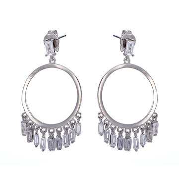 Trendy Platinum Hoop Earrings Fashion Tassel Long Earring Drop Gifts for Girl Women