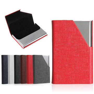 Business ID Credit Card Holder For Women Men Metal Aluminum Card Case PU Leather Porte Carte
