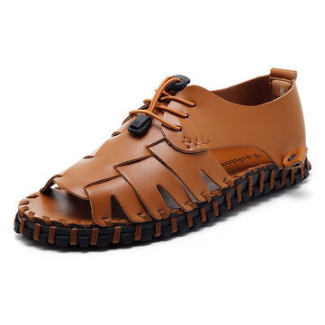 Men Soft Genuine Leather Sandals Slip On Breathable Shoes