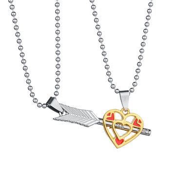 Trendy Stainless Steel Love Couple Arrow Cupid Hollow Heart Shape Necklace for Men Women