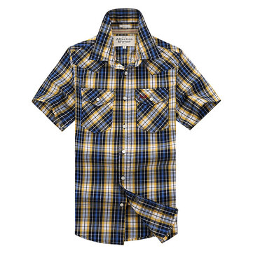 Fashion Casual Plaid Short Sleeve Cotton Men Gingham Shirts