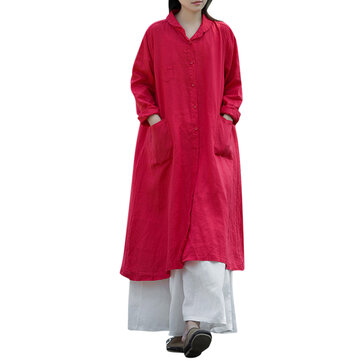 S-5XL Women Button Down Cotton Loose Dress Tunic Outwear