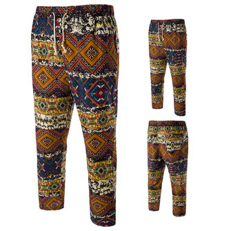 Summer Printing National Style Men's Casual Pants Fashion Loose Linen Pants