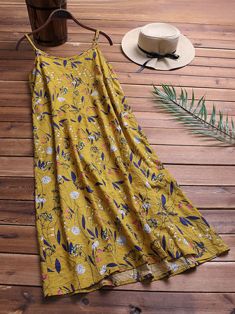 Spaghetti Strap Floral Print Loose Dress for Women