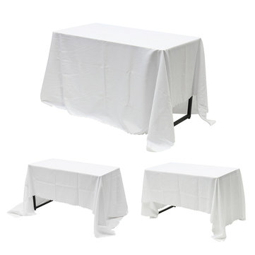 IPRee® Polyester Rectangle Square Tablecloths Wedding Event Party White Table Cover