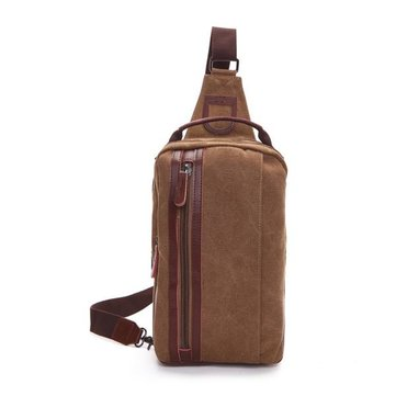 Men Leisure Canvas Shoulder Bag Vintage Style Crossbody Chest Pack