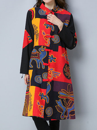 Ethnic Women Print Patchwork Plate Buckle Loose Vintage Coats