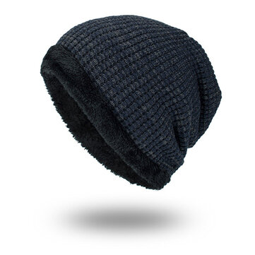 Men Winter Fleece Ski Caps Double Layers Knitted Hats