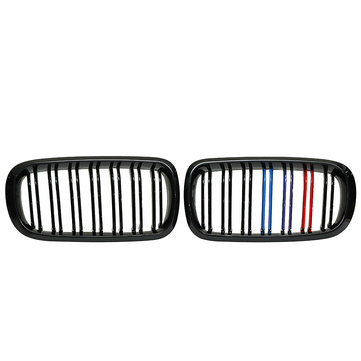 One Pair Gloss Black Front Double Slat Kidney Grille For BMW F85 F86 F15 F16 X5 X6 X5M X6M 2014-2017
