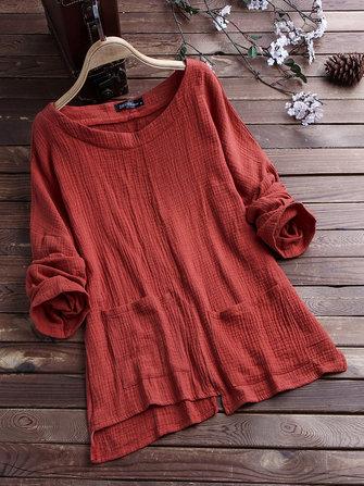 Women Asymmetrical Pockets Vintage Blouse