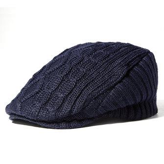 หมวกกันน็อกผู้ชาย Vintage Knitted Beret หมวกฤดูหนาวกลางแจ้ง Keep Hat Boy Newsboy อบอุ่น