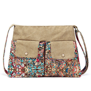 Women Large Capacity Canvas National Fashion Floral Printing Crossbody Shoulder Bag