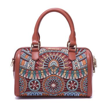 Brenice Embroidery Flower Printing Tote Handbags Vintage Shoulder Bags