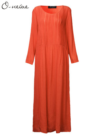 O-NEWE Plus Size Women Brief Solid Casual Pleated Maxi Dress