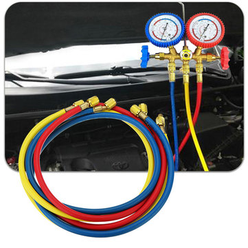 3pcs Car Air Conditioning Refrigerant Recharge Gas Pressure Gauge Hose Valve