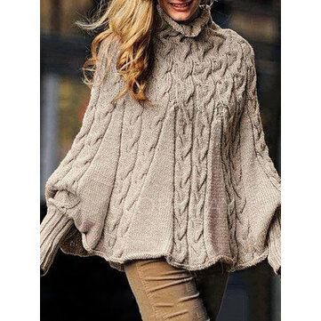 Women Long Sleeve High Collar Pollover Solid Color Knitting Sweaters