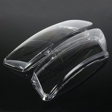 Pair Headlight Lens Lampshade PC Shell Cover Right & Left Replacement For Audi A6 C6