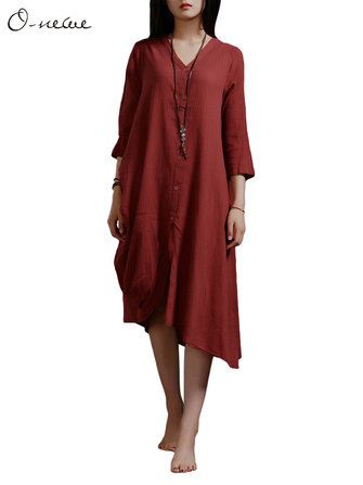 Casual Loose Front Button Solid Cotton Irregular Dress