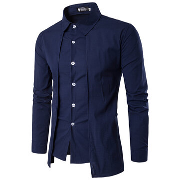 Mens Fashion Connected Two Pieces Personality Casual Long Sleeve Shirts