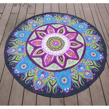 145cm Lotus Print Thin Chiffon Beach Yoga Towel Mandala Round Bed Sheet Tapestry Tablecloth