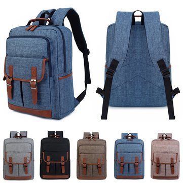 16inch Canvas Leather Oxford Laptop Travel Backpack Satchel Rucksack Student School Bag Men Women