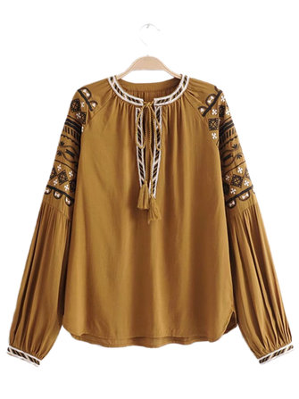 Women Patchwork Lace Lantern Sleeve Embroidered Blouse