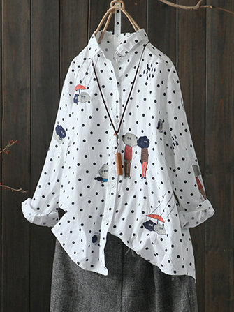 Casual Cute Cartoon Embroidery Polka Dot Shirt Blouses