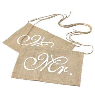 1 paire mr mrs chaise de mariage bunting hessian jute burlap banner party decoration
