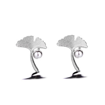 Sweet Silver Apricot Leaf Earrings Trendy Pearl Charm Stud Earring Gift for Women