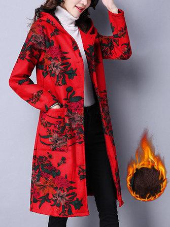 민속 여성 후드 긴 소매 꽃 인쇄 벨벳 따뜻한 코트