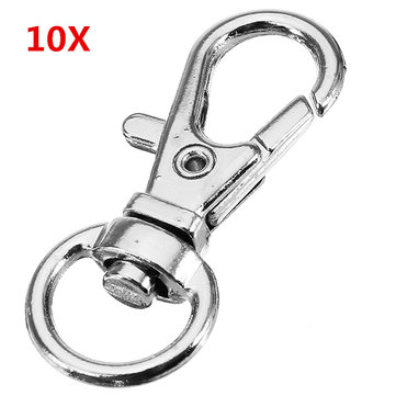 10Pcs 32mm Silver Zinc Alloy Swivel Lobster Claw Clasp with 8.5mm Round Ring