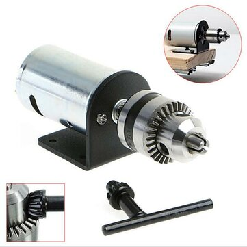 DC 12-36V Lathe Press 555 Motor With Miniature Hand Drill Chuck and Mounting Bracket