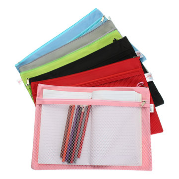 Colorful Double Layer Canvas Cloth Zipper Book Pencil Pen Case Bag File Document Bags